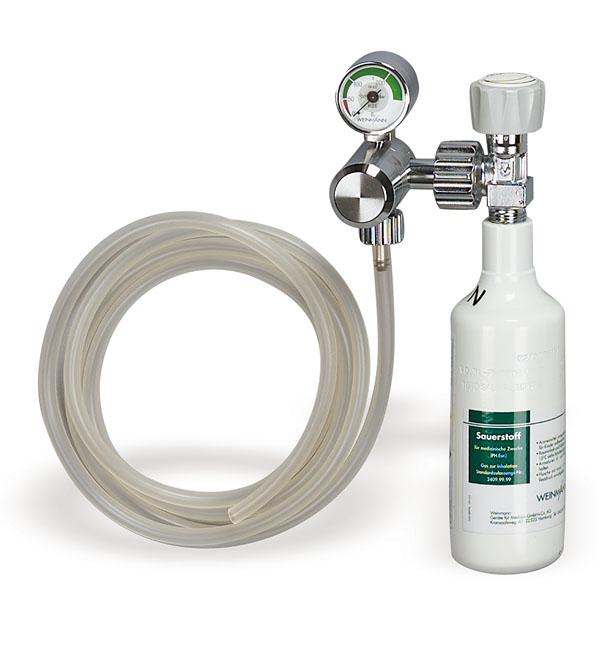 Sauerstoffgerät Druckminderer für Sauerstoff, Lieferumfang: - Sauerstoff-Flasche, 0,3 l x 200 bar, leer