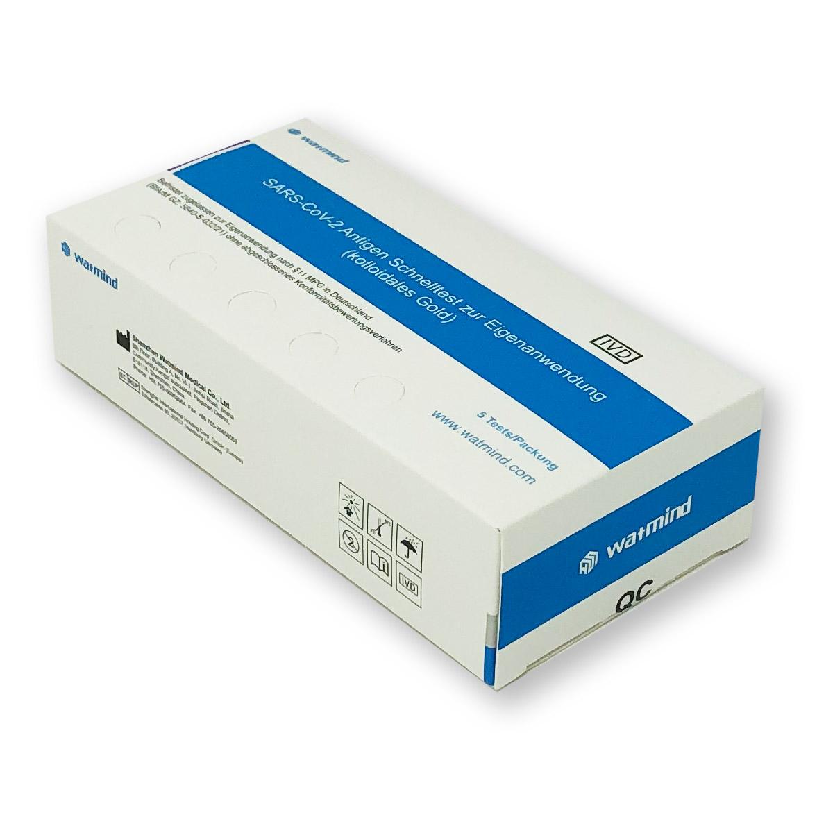 Watmind Lollypop-Test für Laien (Colloidal Gold) - Corona Antigen-Schnelltest - Packung á 5 Stück