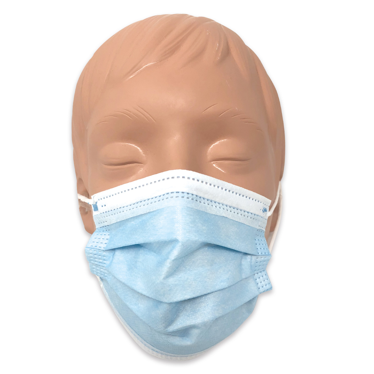 Mundschutz für Kinder in hellblau, Typ II, 3-lagig - Packung à 50 Stück