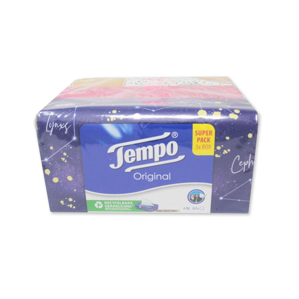 Tempo Design Edition Taschentücher Box, 4-lagig - 1 Trio-Box = 3 x 80 Tücher