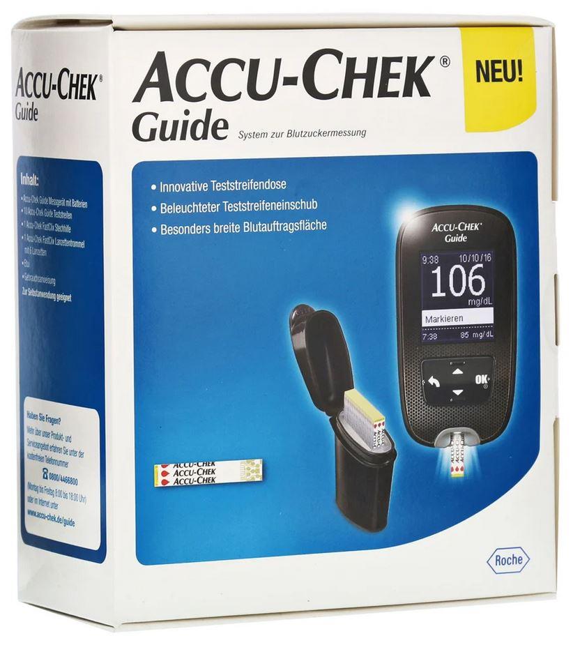 ACCU-CHEK Guide Blutzuckermessgerät, Set mit 10 Teststreifen