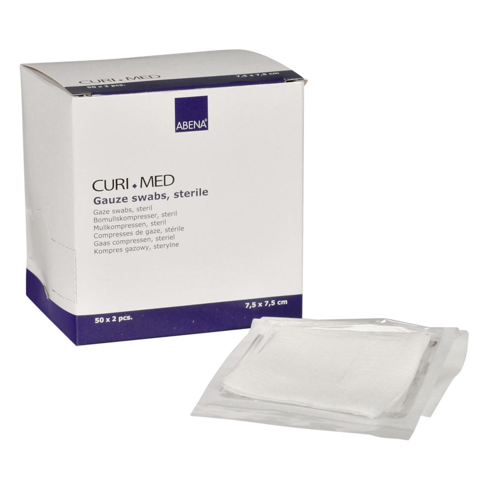 Curi-Med - sterile Mullkompressen, weiß, 7,5 x 7,5 cm - 100 Stück