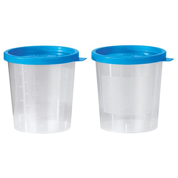 Universalbehälter, Urinbecher mit blauem Schnappdeckel, 125 ml