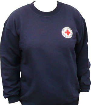 Sweat-Shirt blau, DRK-Rundlogo gestickt