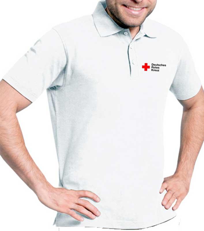 Poloshirt weiß, Mischgewebe, mit DRK Kompaktlogo
