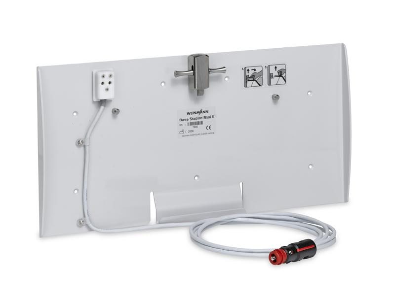 BASE-STATION mini II Wandhalterung mit 12 V Ladeschnittstelle (Kfz-Kombistecker) für die Tragesysteme