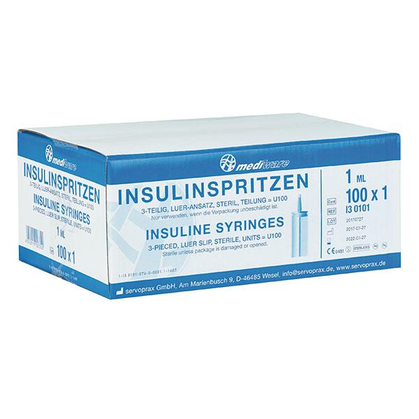 Insulinspritzen 1 ml, 3-teilig, Packung à 100 Stück