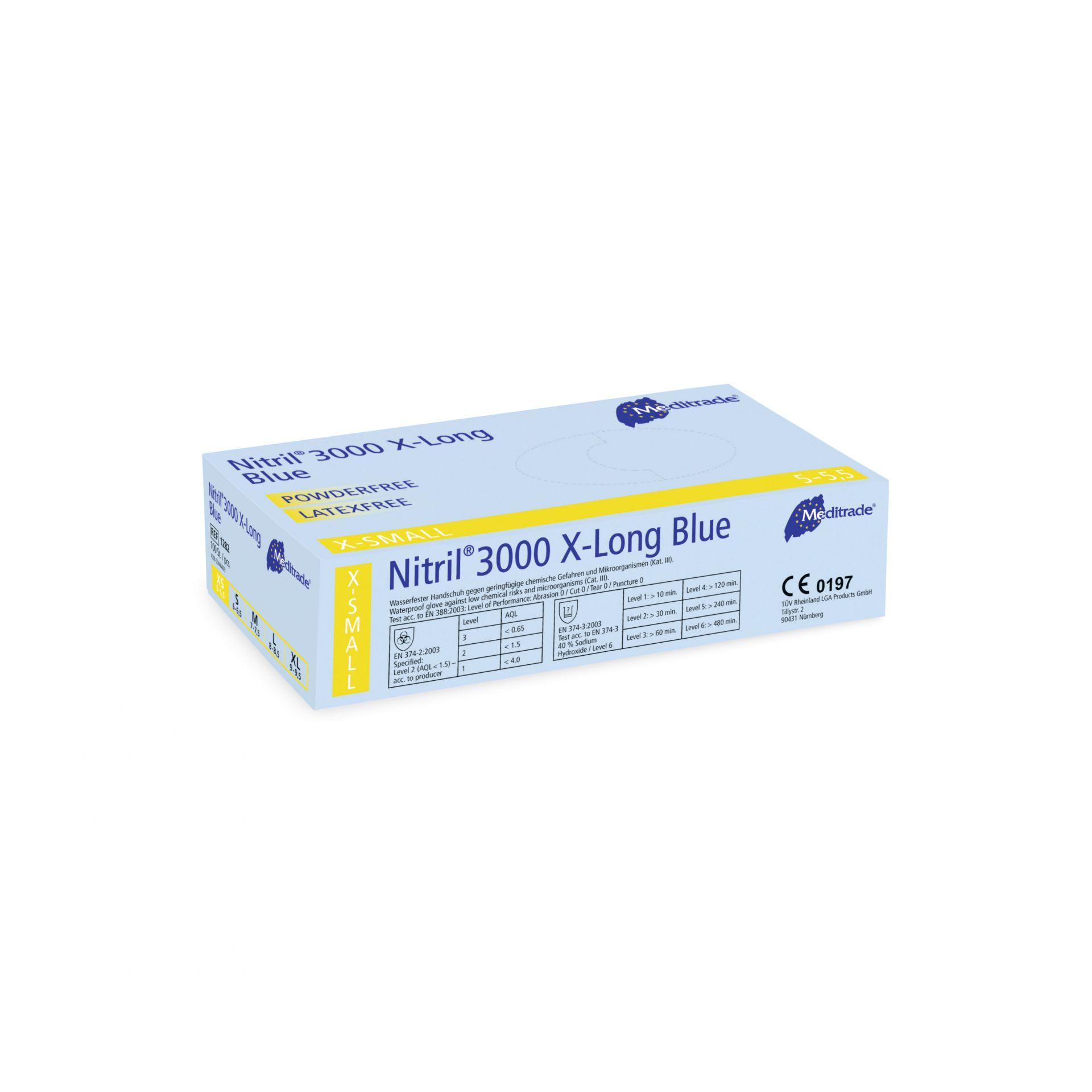 Meditrade Nitril® 3000 x-long Blue Untersuchungshandschuhe - Packung à 100 Stück