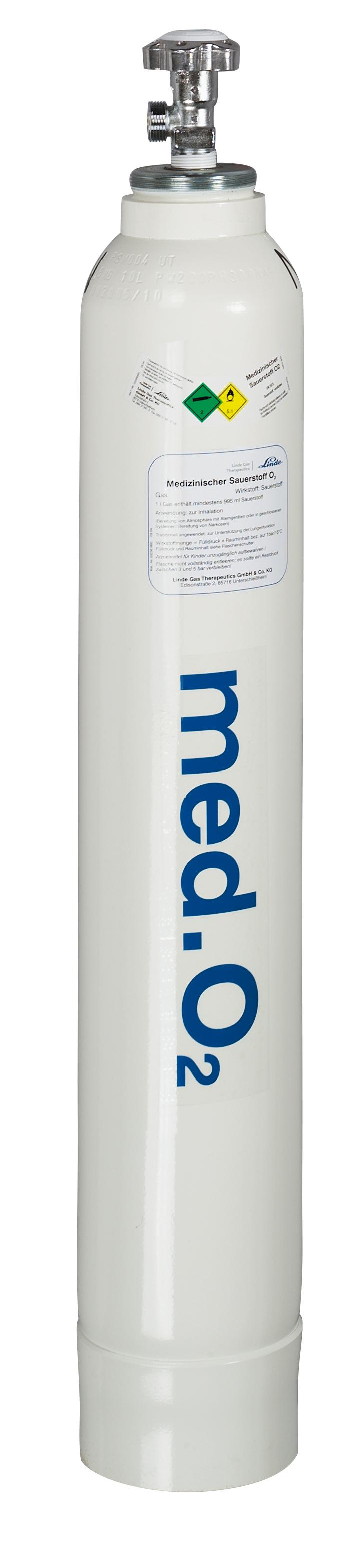 Sauerstoffflasche, gefüllt, G 3/4, mit Glockenkappe und Fußring, 10 l