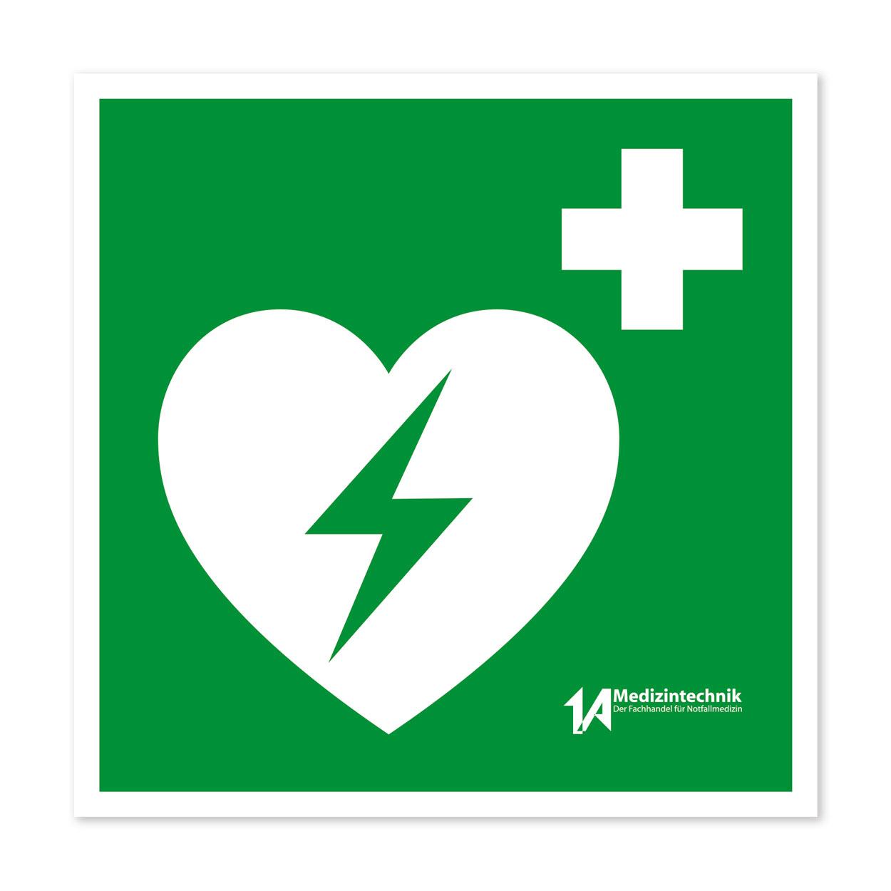 Aufkleber zur Markierung eines AED, 12x12 cm