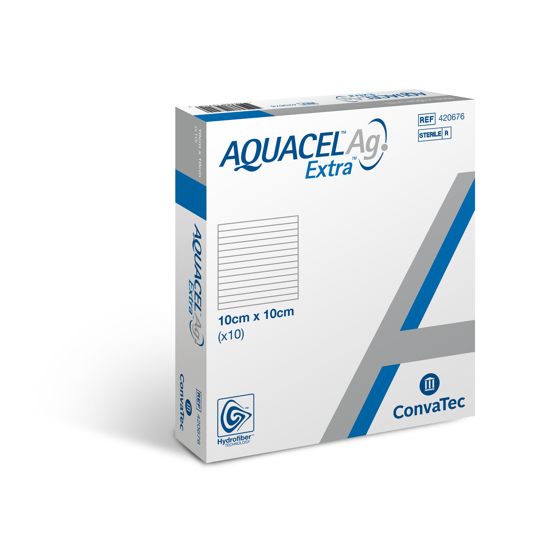 AQUACEL® Ag Extra Wundauflage 10 x 10 cm - Packung  mit 10 Stück