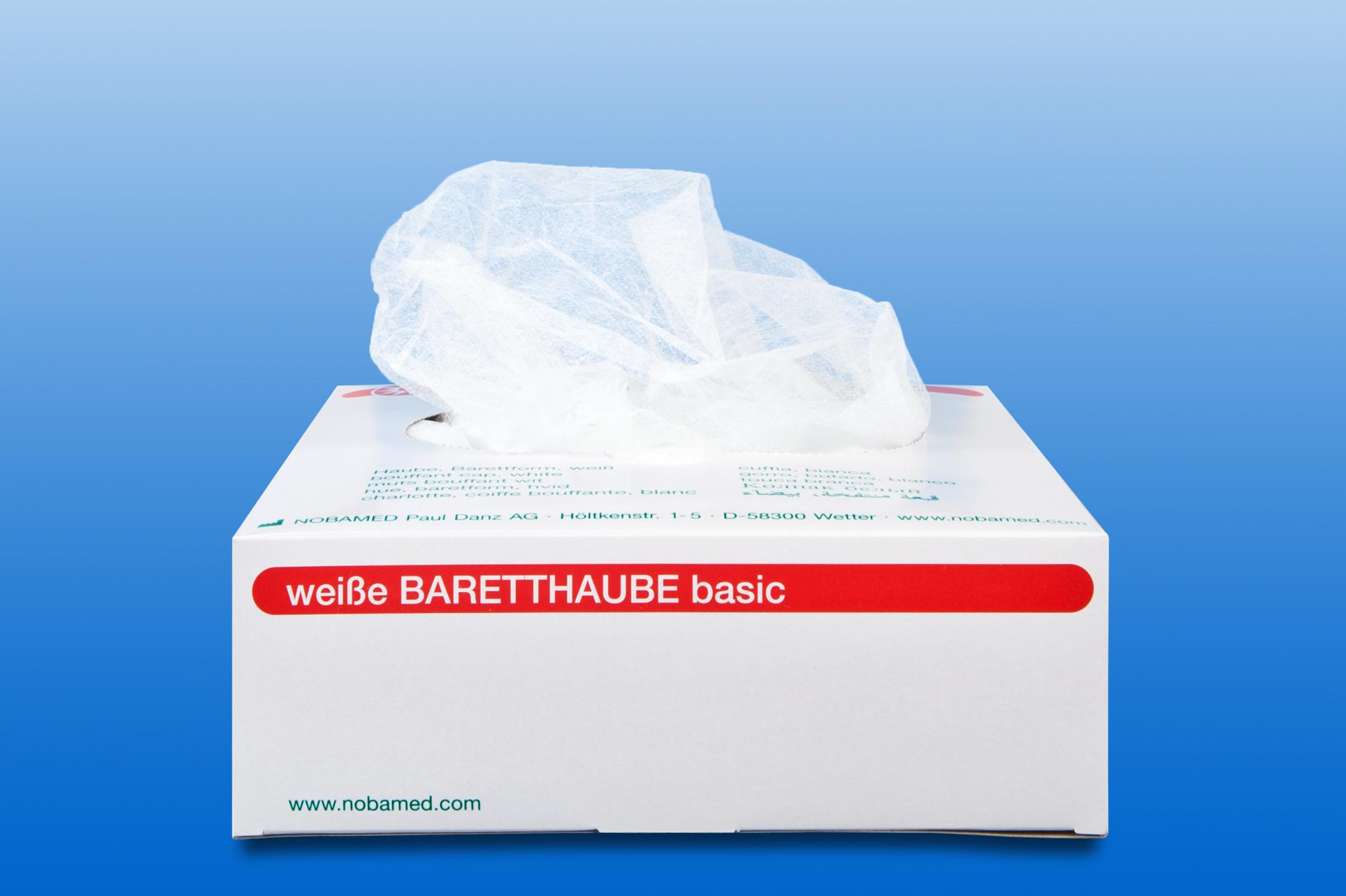 HAUBE in weiß, Barettform - Packung à 100 Stück