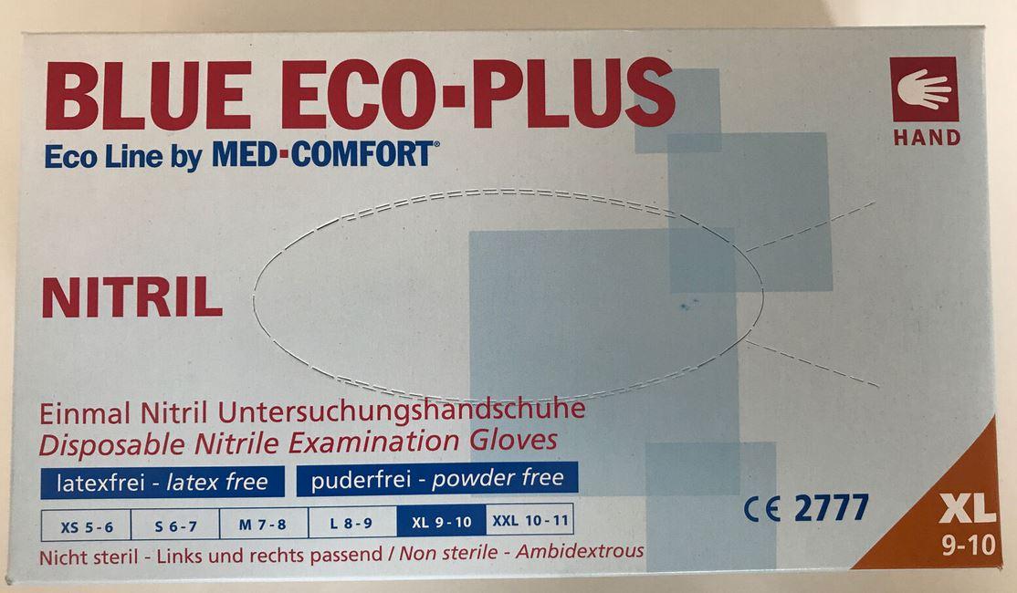 Nitril Einmalhandschuhe Blue Eco-Plus Größe L - Packung à 100 Stück