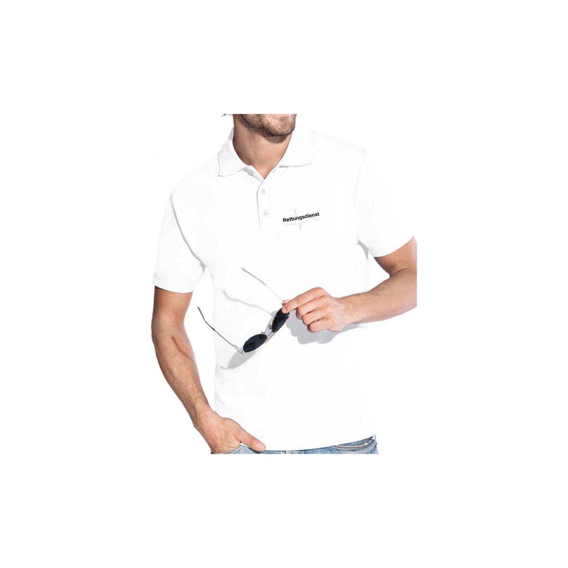 """Poloshirt weiß  mit Stick """"Rettungsdienst"""" + Kurve"""