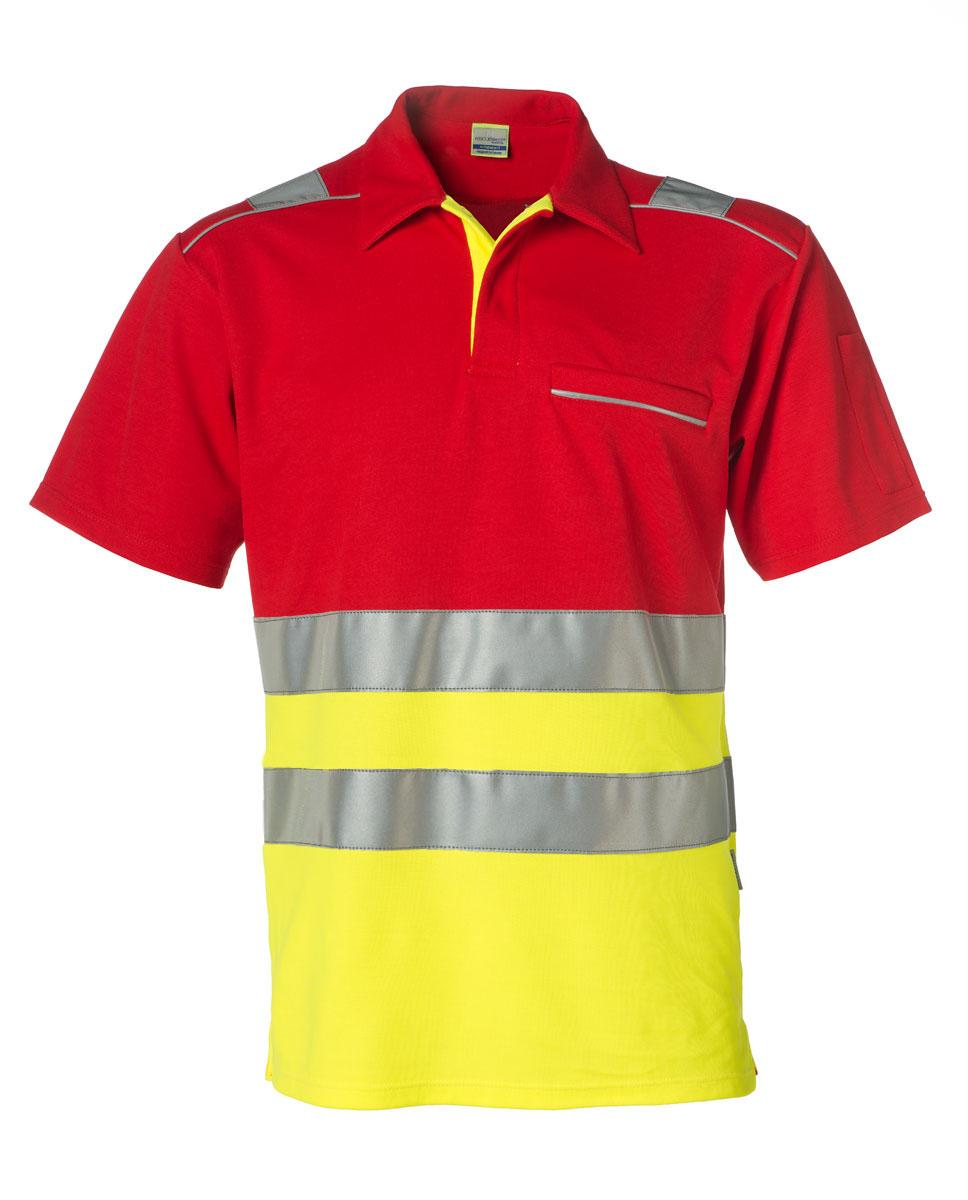 Poloshirt HiVis,  neongelb/rot