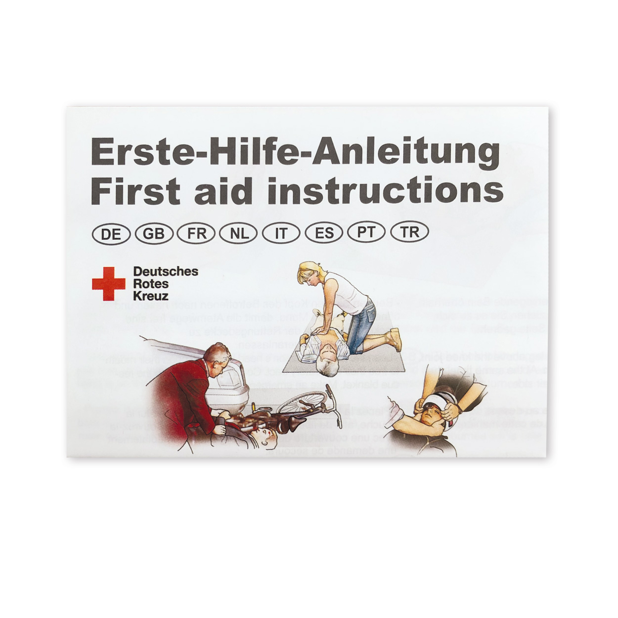 Faltblatt Anleitung zur Ersten Hilfe 8-sprachig, Packung à 50 Stück