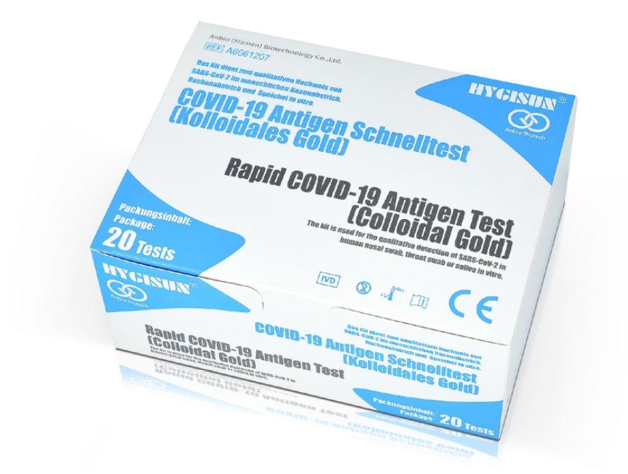 HYGISUN Duo-Test Spuck o. Nasenabstrich (Collodial GOLD) - Corona Antigen-Schnelltest - 20 Packungen á 1 Stk.