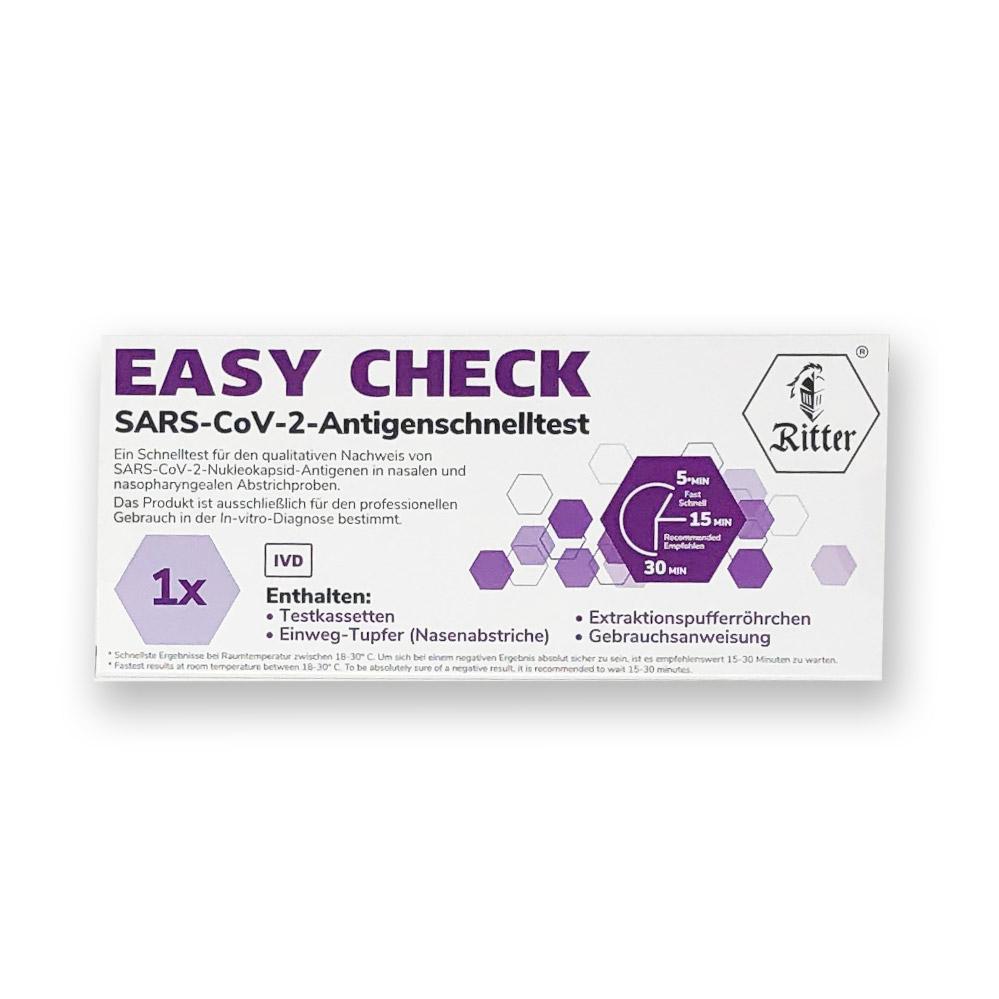 EASY CHECK Nasen-Abstrich-Test (Colloidal Gold) - Corona Antigen-Schnelltest - 20 Packungen á 1 Stk.