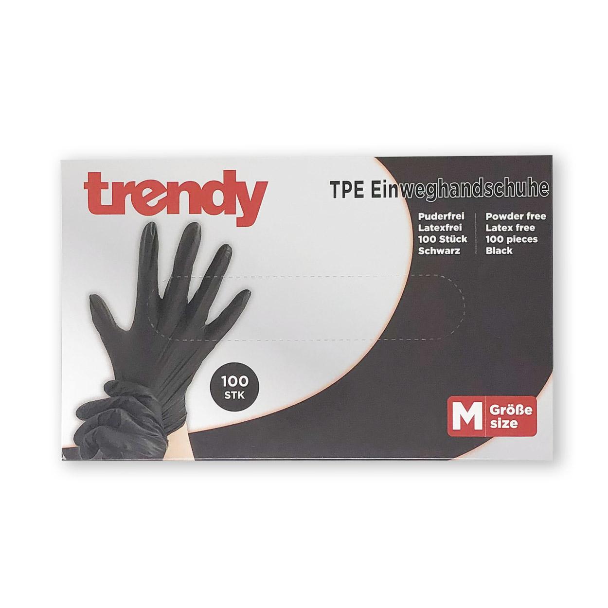 Einweghandschuhe aus TPE, Gr. M in schwarz - Packung á 100 Stück
