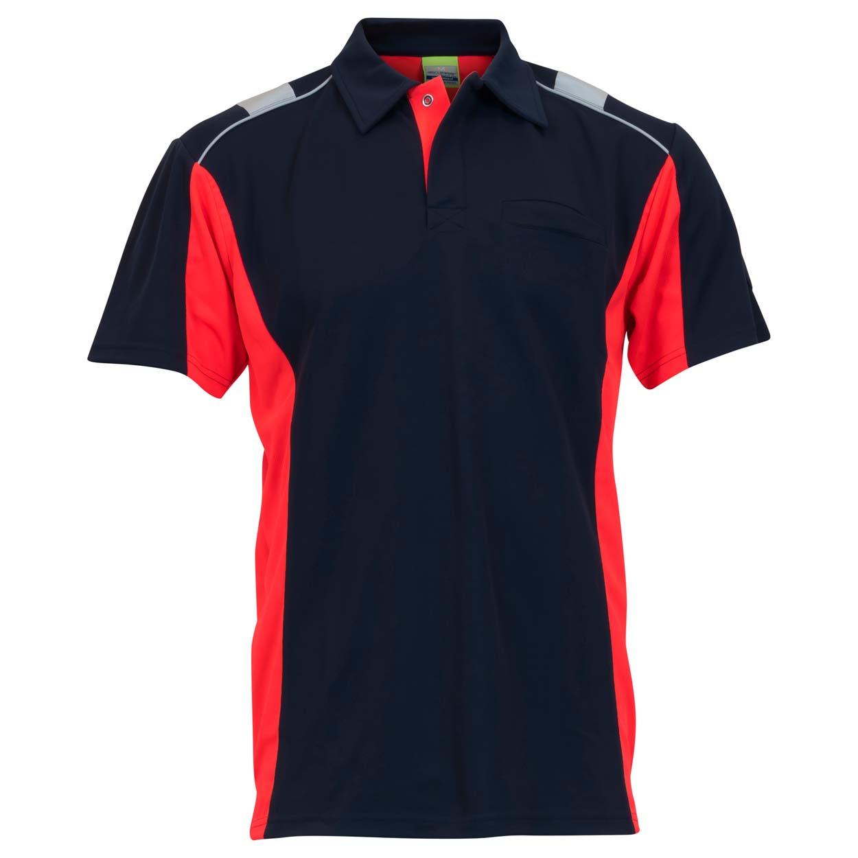 Poloshirt Dynamic Größe in marineblau/neonrot