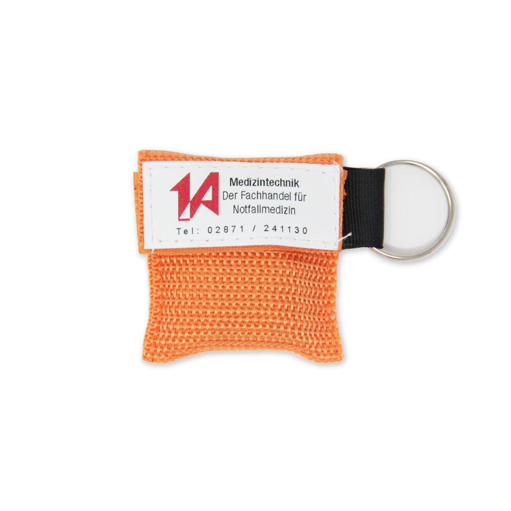Beatmungstuch im Schlüsselanhänger in orange - 1A-Logo