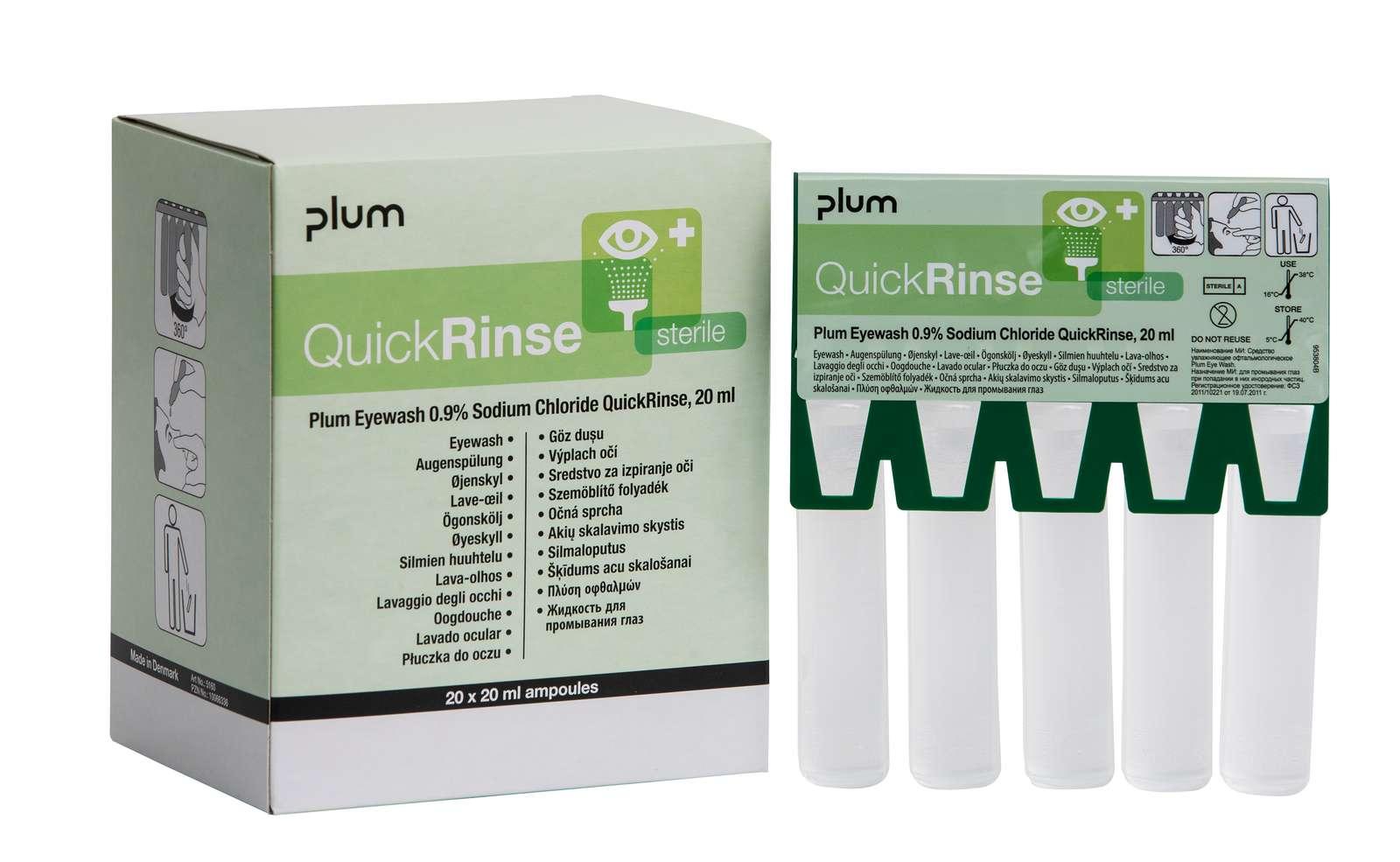 QuickRinse Augenspülampullen 20 ml, Packung â 5 Ampullen