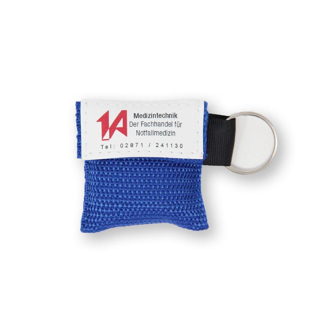 Beatmungstuch im Schlüsselanhänger in blau - 1A-Logo