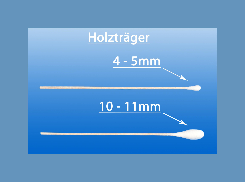 Wattestäbchen steril, kleiner Kopf, 4 - 5 mm, Holzträger