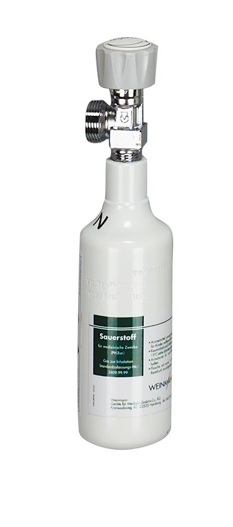 Sauerstoff-Flasche 0,3 Liter, gefüllt, G 3/4