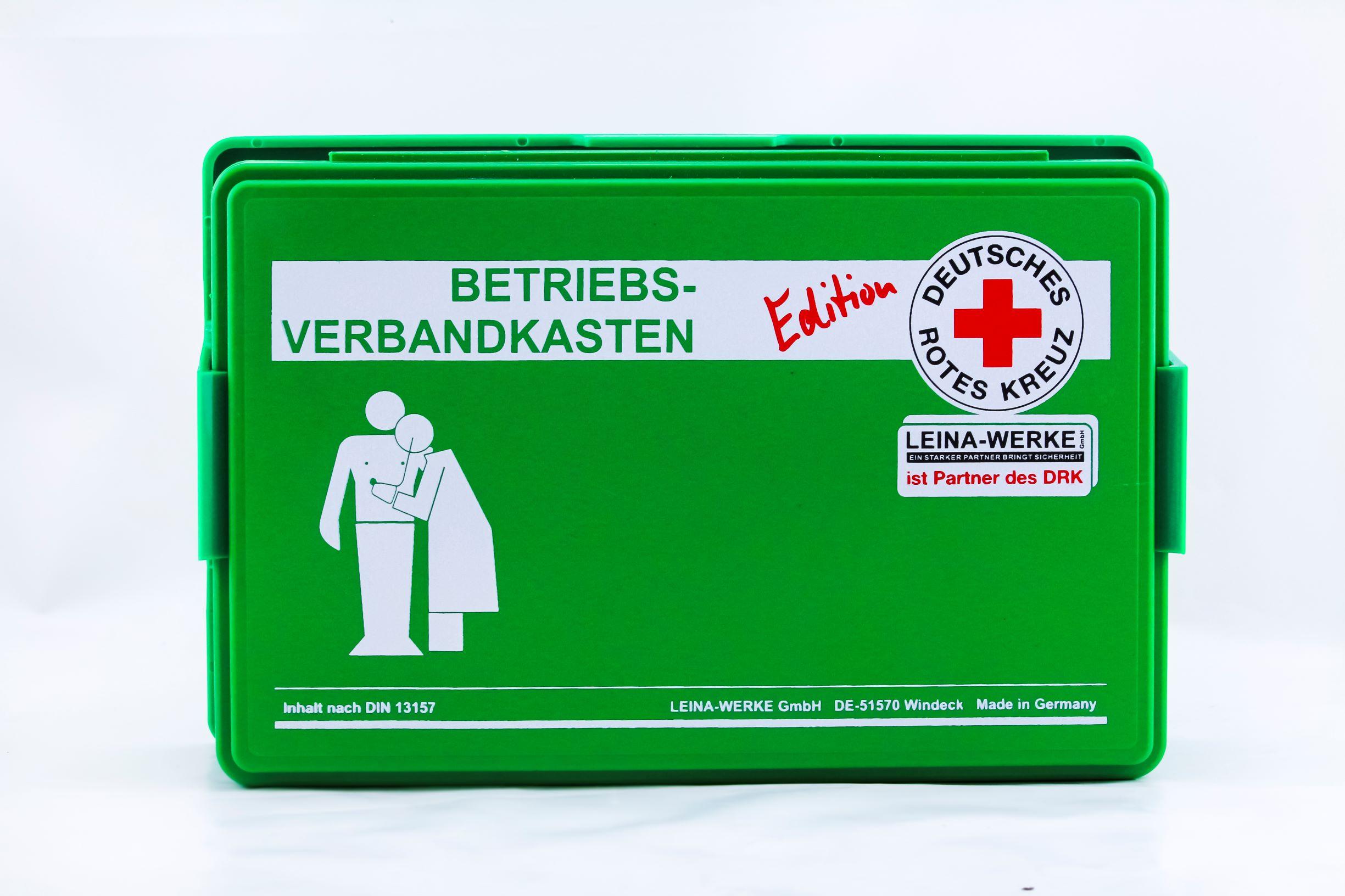 Betriebsverbandkasten - klein - DRK-Edition, grün, mit Wandhalterung