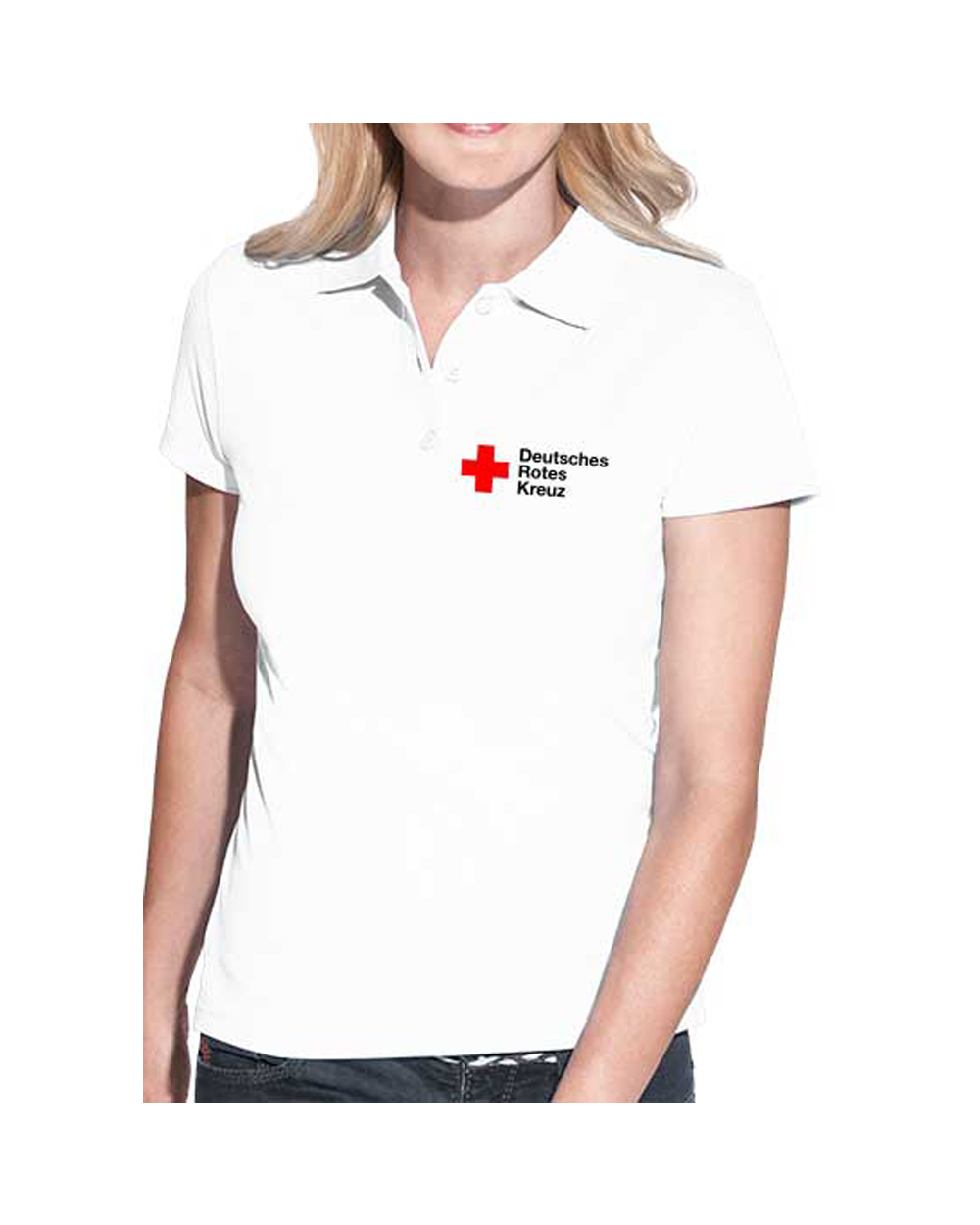 Poloshirt Lady weiß mit DRK Kompaktlogo