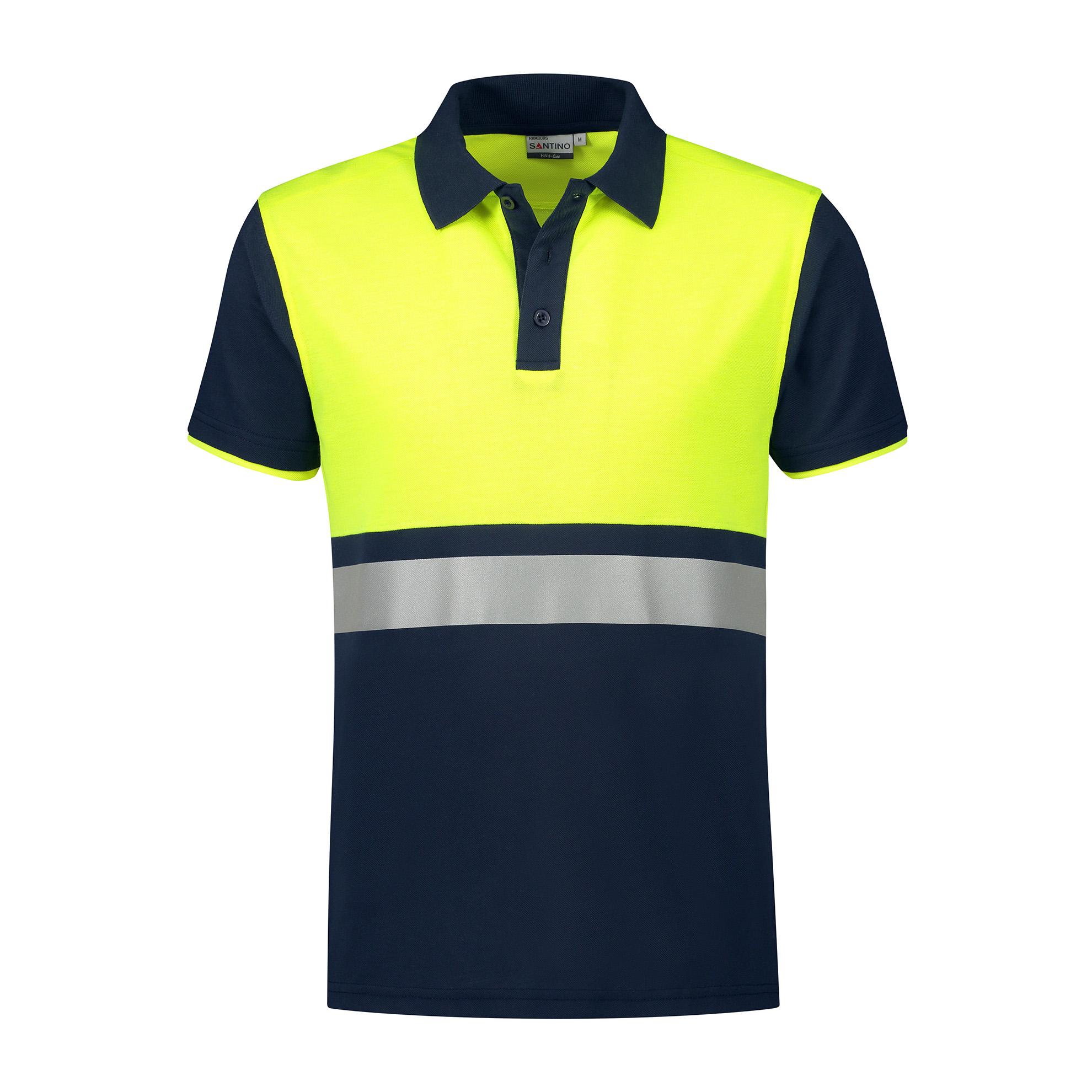 Santino Poloshirt Hamburg Marineblau/Fluor Yellow Gr. L