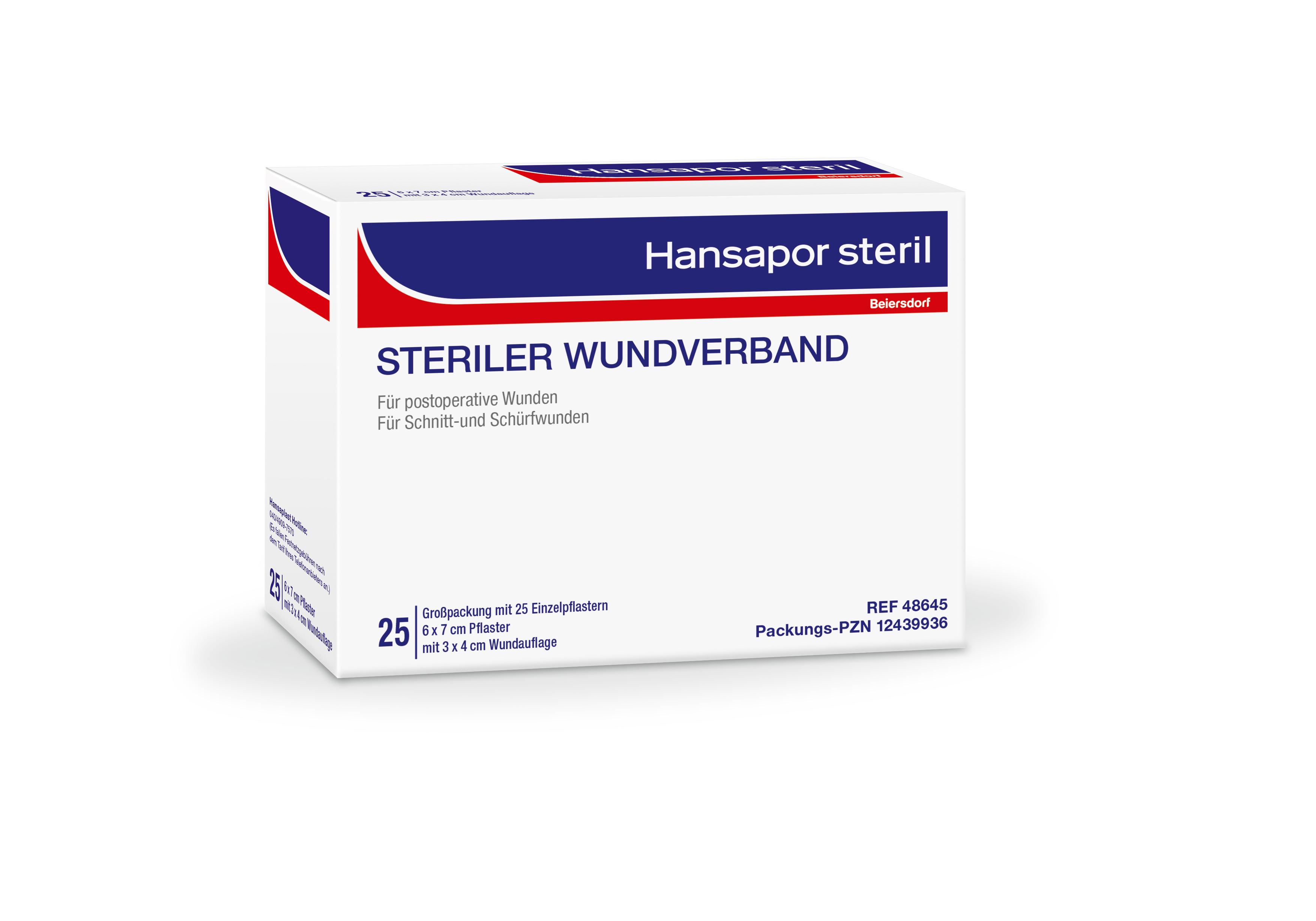 Hansapor Steril Wundverband 25er Packung, 6 x 7cm