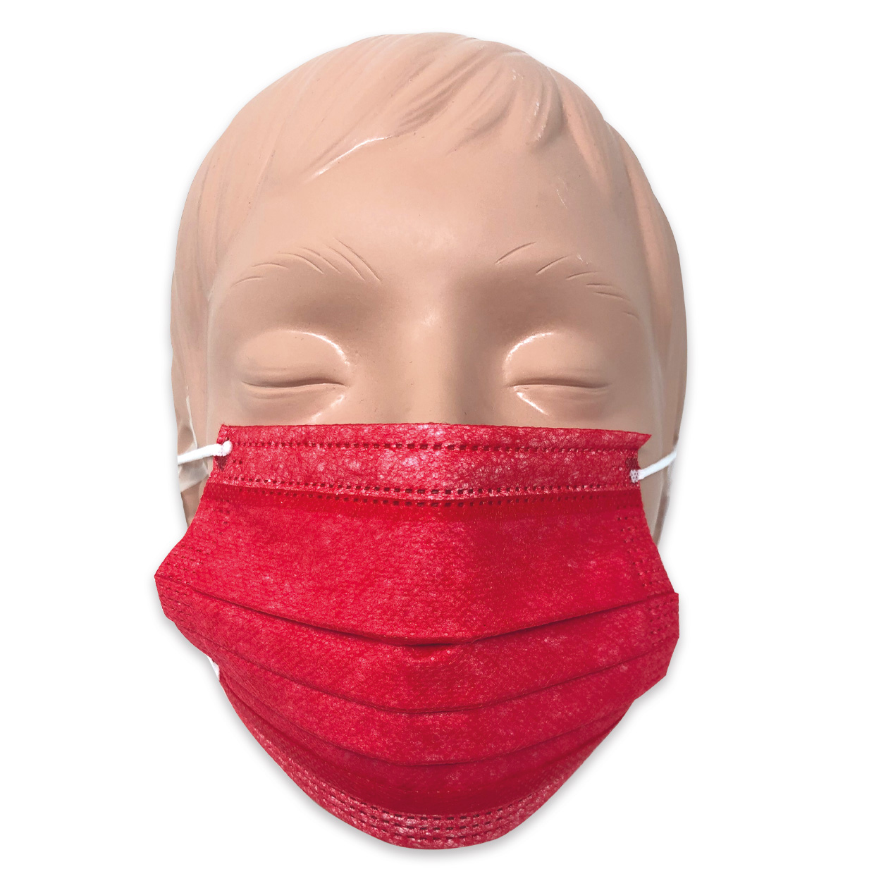 Mundschutz für Kinder in rot, Typ II, 3-lagig - Packung à 50 Stück