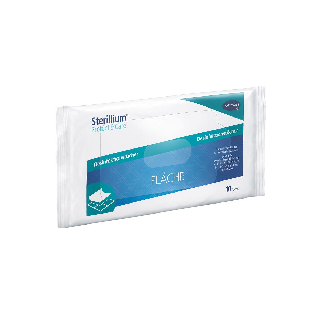 Sterillium® Protect & Care Desinfektionstücher Fläche, Flowpack (10 Tücher)