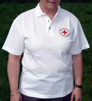 Poloshirt weiß mit Stick DRK Rundlogo