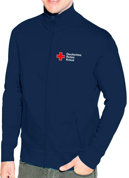 Sweatshirt-Jacke blau mit DRK Kompaktlogo