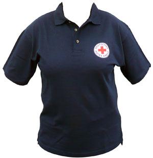 Poloshirt blau mit gesticktem DRK Rundlogo