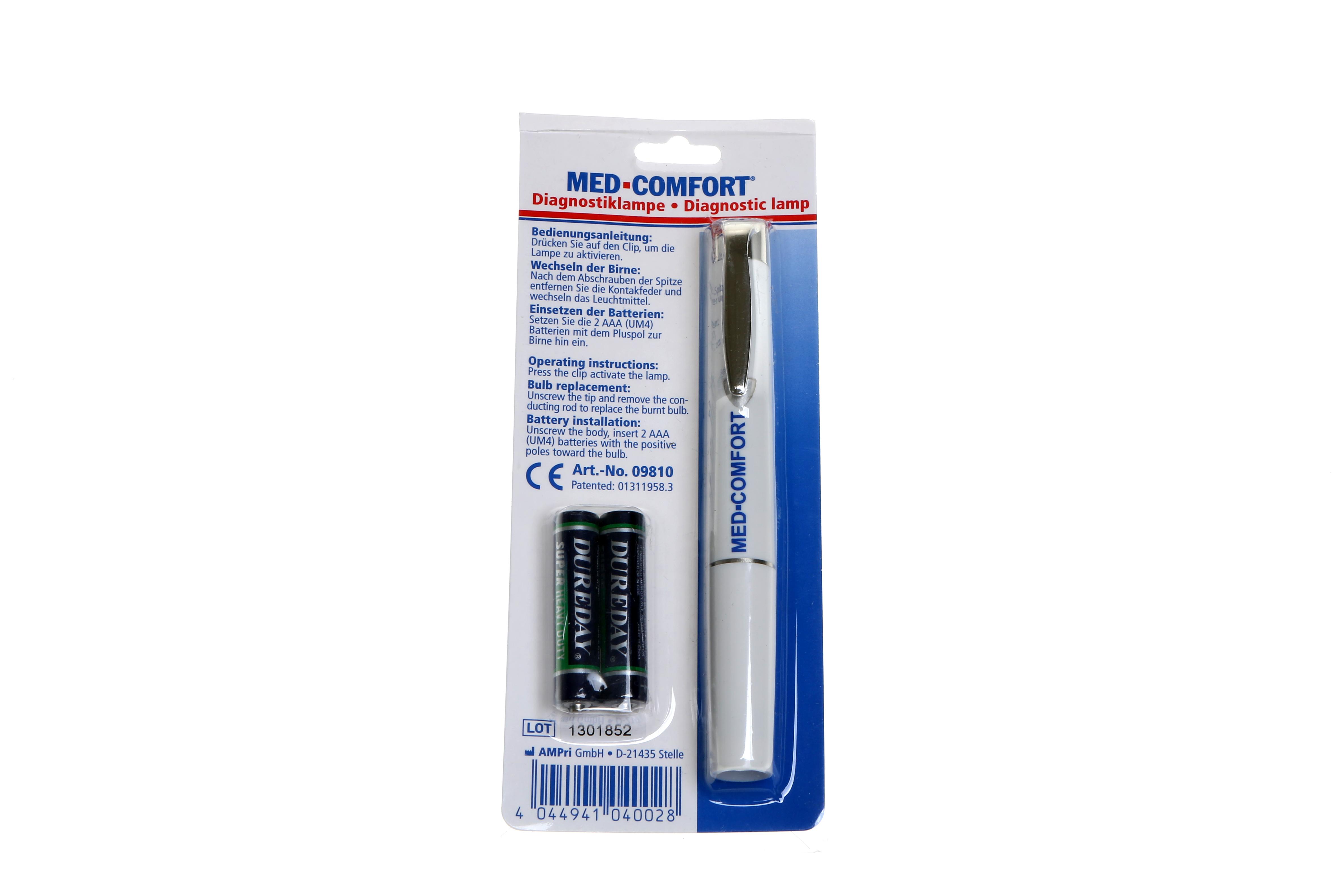 Diagnostikleuchte mit auswechselbarer Batterie in weiß