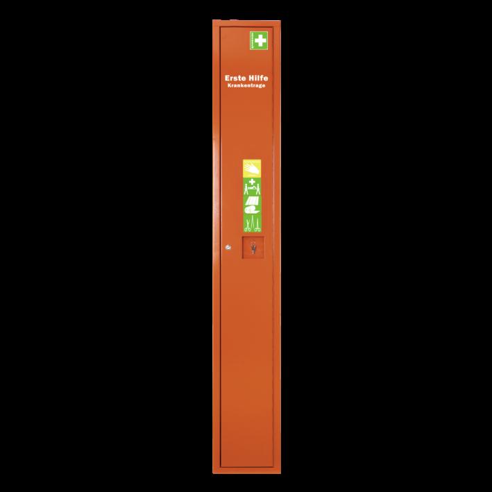 Stehschrank Erste-Hilfe-Trage gefüllt orange