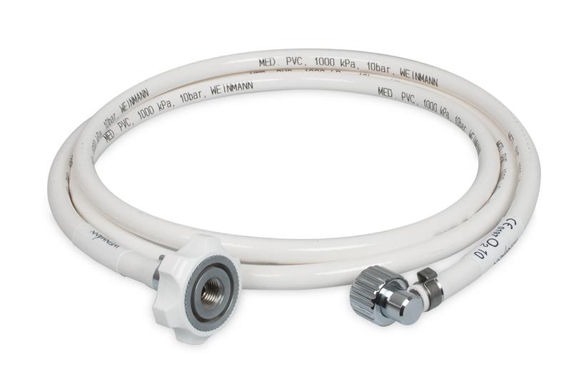 Druckschlauch mit  1x Überwurfmutter G 3/8' Innengewinde mit  Winkelanschlusstülle,  1x Gerader Stecker für Sauerstoffschnellkupplung  nach AS 2896  Länge: 1m, weiß