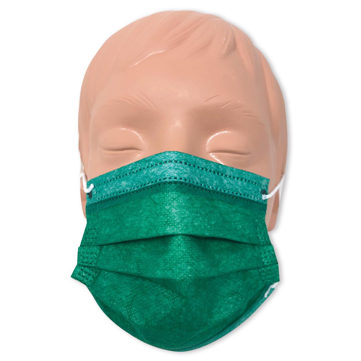 Mundschutz für Kinder in grün, Typ II, 3-lagig - Packung à 50 Stück