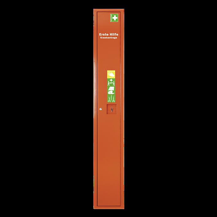 Stehschrank Erste-Hilfe-Trage leer orange