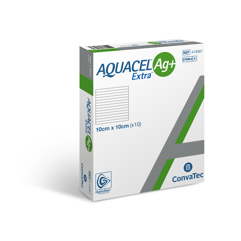 AQUACEL® Ag+ Extra Wundauflage 10 x 10 cm - Packung mit 10 Stück