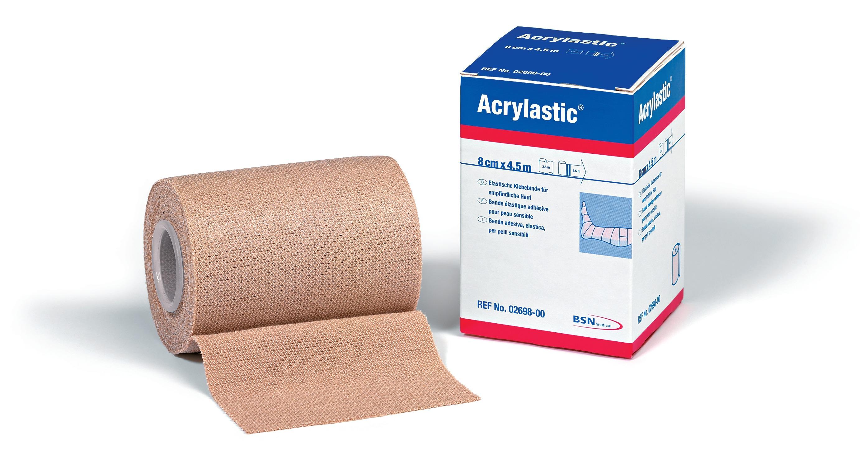 Acrylastic elastische Klebebinde 8 cm x 2,5 m - Packung mit 12 Stück