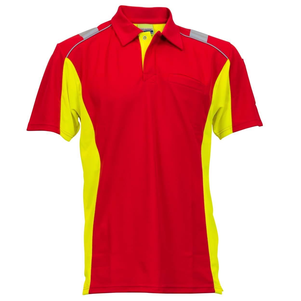 Poloshirt Dynamic Größe in rot/neongelb