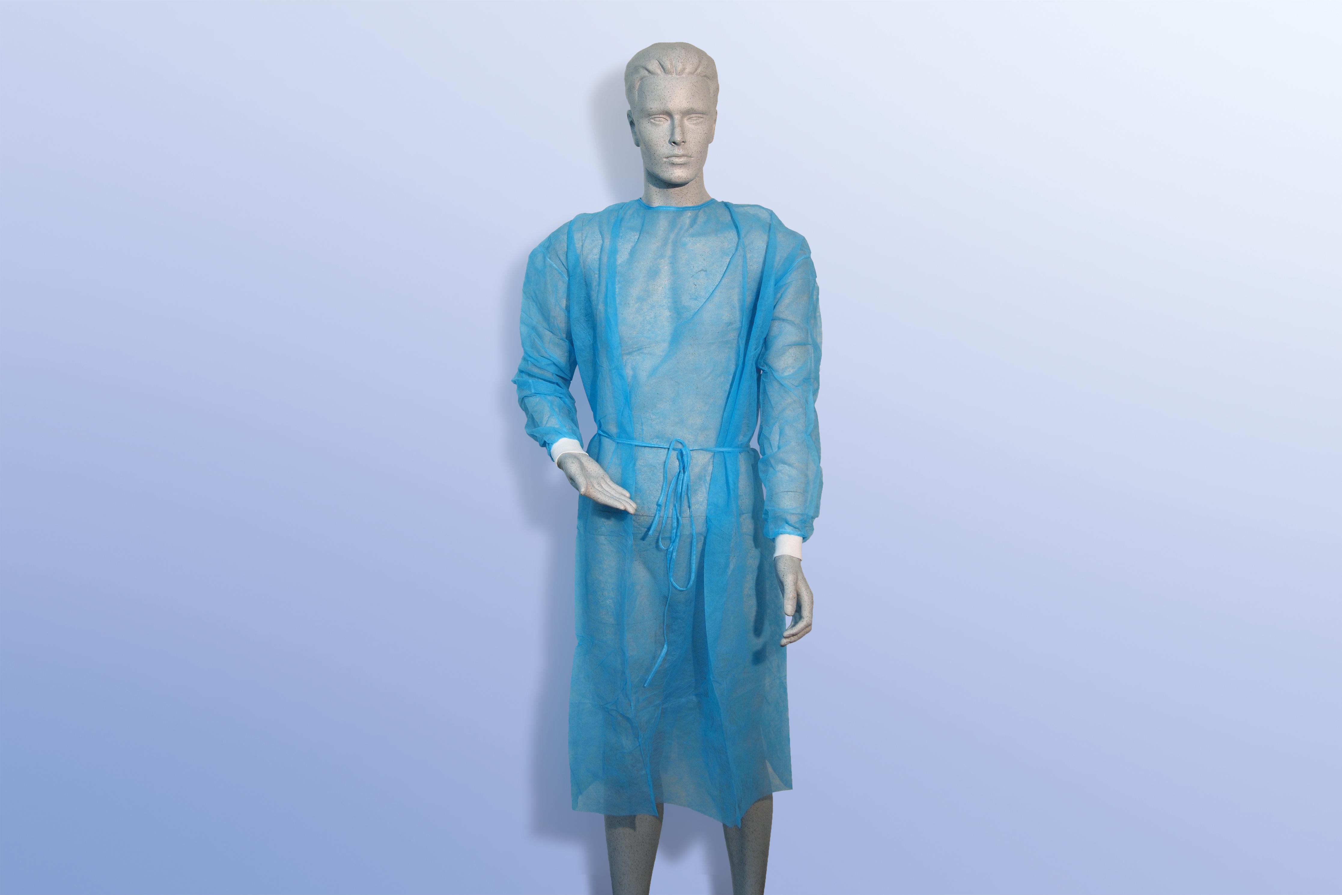 Besucherkittel blau 120 cm lang 144 cm breit, Packung â 100 Stück