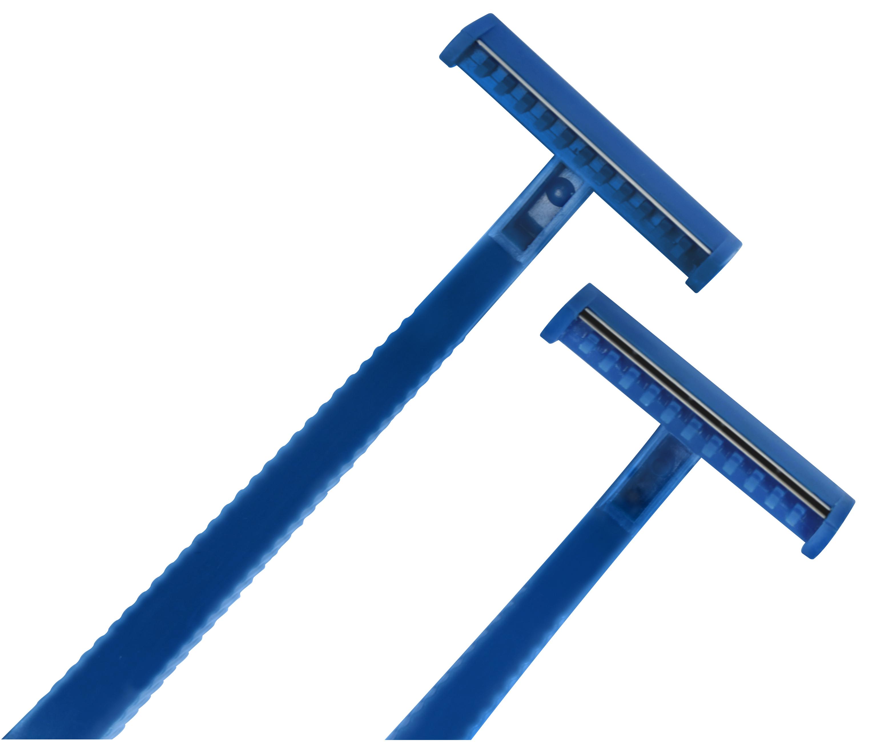 Einmalrasierer in blau, zweischneidig