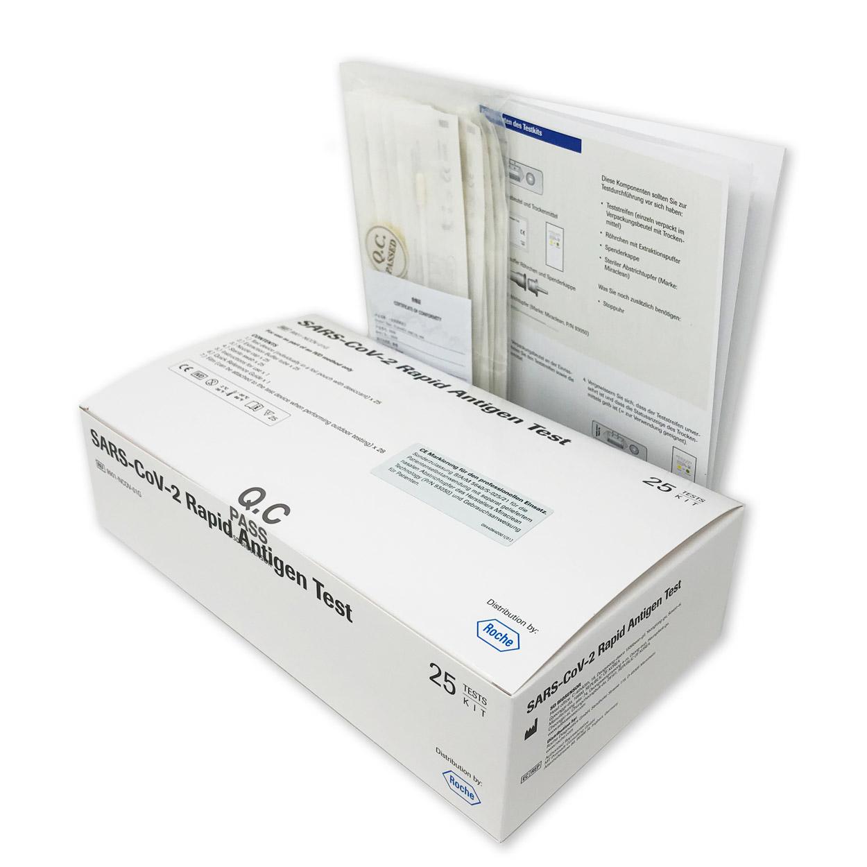 Roche Nasen-Abstrich-Test für Laien - Corona Antigen-Schnelltest - Packung á 25 Stück