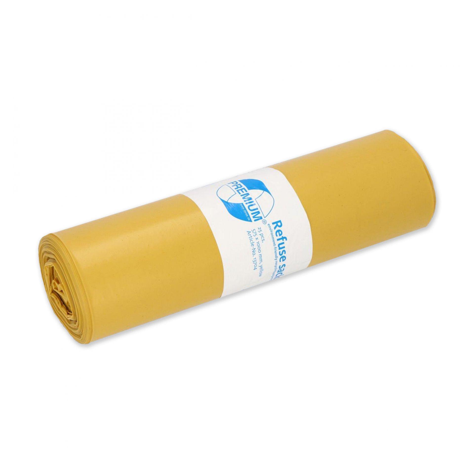 Premium Abfallsack 70 l T60 gelb - Karton mit 250 Stück